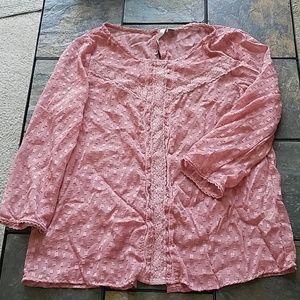 Lauren Conrad Pink Metallic Button Peasant Top L